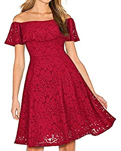 Kidsform Women's Off Shoulder Lace Dress Vintage Floral Cocktail Party Wedding Dresses
