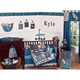 Blue and Brown Tropical Hawaiian Surf Beach Baby Boy Bedding 9pc Crib Set by Sweet Jojo Designs