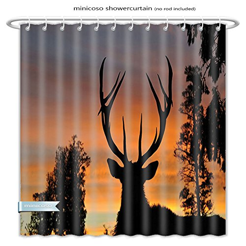 Minicoso Shower Curtains Antlers Decor Black Deer Red Sky Background West Coast South Island New Zealand Nature Polyester Fabric For Bathroom Size-48