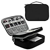 Honeystore Travel Gear Organizer Electronics Accessories Storage Bag Double Layers Travel Gadget Organizer Case for iPad Mini, USB Cable, Plug, Flash Drive, Power Bank, Earphone, Cards and More Black