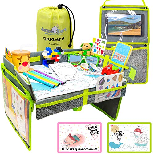 Compact Foldable Kids Origami Travel Tray - 2 in 1 Activities Center Side Pockets or Toys Organizer for Toddler or Baby Play Space. Designed for Airplane, Train, Restaurants, Picnic or Beach.
