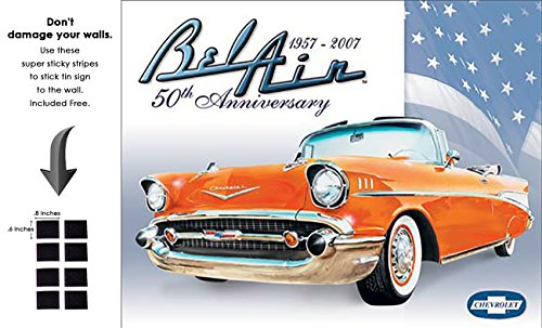 Shop72 - Vintage Tin Sign Bel Air - 50th Anniversary Metal Sign Poster Garage Sign - with Sticky Stripes No Damage to Walls