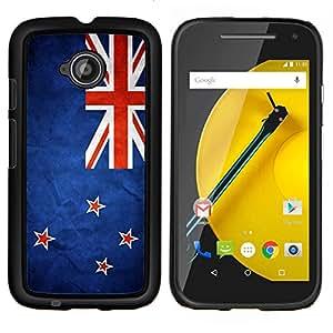 EJOOY---Cubierta de la caja de protección para la piel dura ** Motorola Moto E2 E2nd Gen ** --Nación Bandera Nacional País Nueva Zelanda