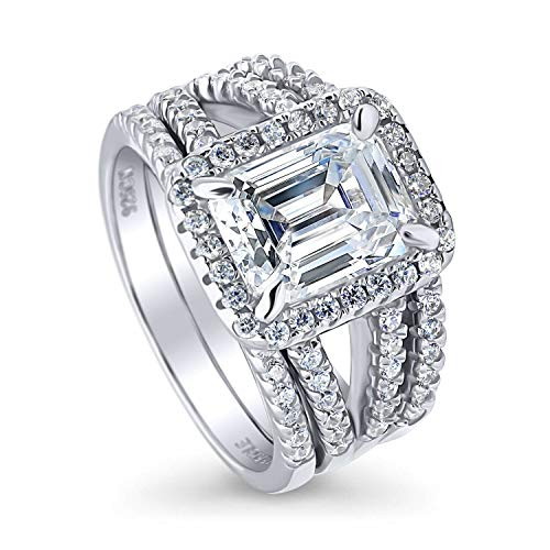 BERRICLE Rhodium Plated Sterling Silver Emerald Cut Cubic Zirconia CZ Halo Engagement Wedding Split Shank Ring Set 3.5 CTW Size 4 (Wedding Band To Match Split Shank Engagement Ring)