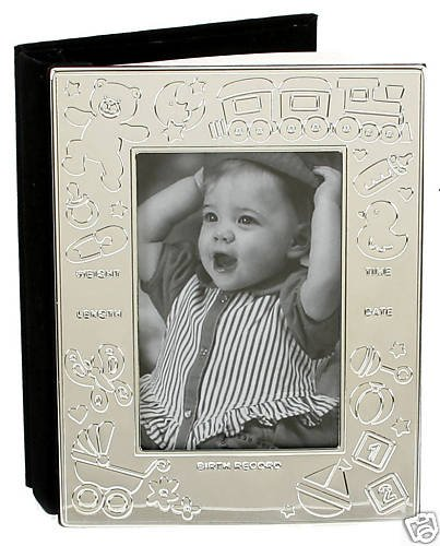 Personalised Engraved Silver Plated Baby Data Photo Frame Album