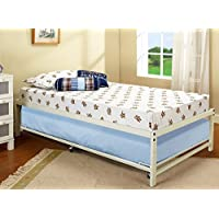 Kings Brand White Metal Twin Size Platform Bed Frame With Roll Out Trundle