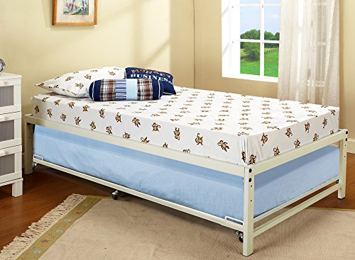 Kings Brand White Metal Twin Size Platform Bed Frame With Roll Out Trundle (Platform Frame Daybed)