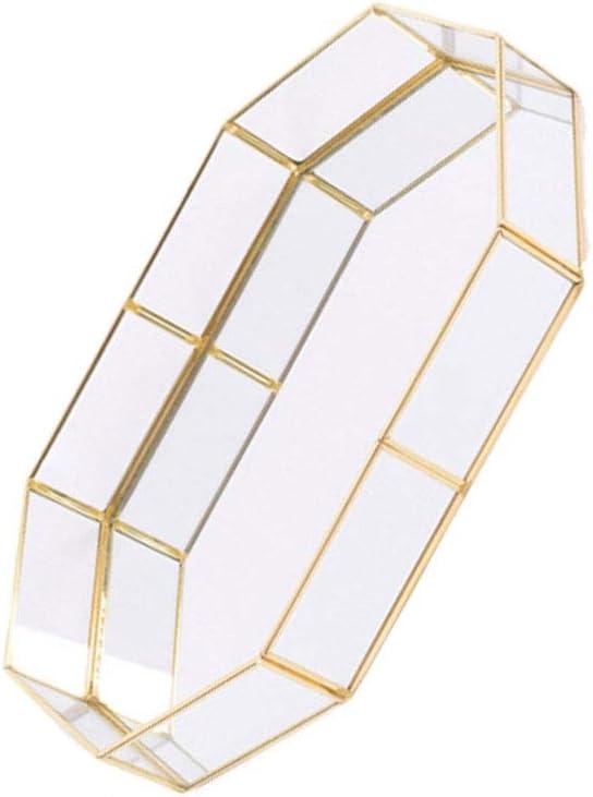 Gioielli Organizzatore Poligono Tipo di vetro di immagazzinaggio dei monili del piatto organizzatore Golden Glass Tray Casa vassoio decorativo Taglia S