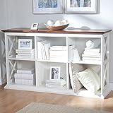 Belham Living Hampton Console Table 2 Shelf Bookcase, White/Oak