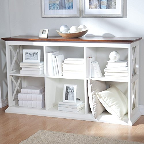 - Belham Living Hampton Console Table 2 Shelf Bookcase, White/Oak