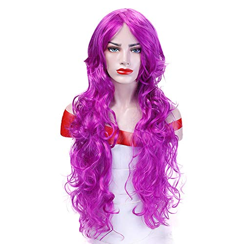Orange Long Wavy Cosplay Wigs Heat Resistant Synthetic Hair Costume Halloween Party Wig -