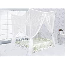 Alicemall 4 Corners Bed Canopy Mosquito Net and Bed Net for Double Bed, Solid Color Summer Netting Bedding, Fit for Full Queen King Size Bed (White)