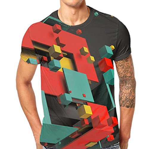 iYYVV Mens T-Shirt Graffiti Tops 3D Printing Tees Shirt Short Sleeve -
