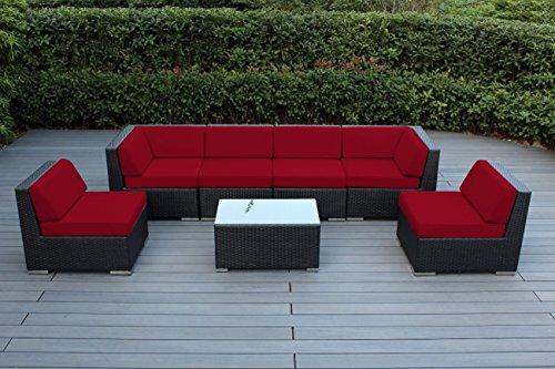 Ohana 7 Piece Outdoor Patio Wicker Furniture Sectional Conversation Set  With Weather Resistant Cushions, Sunbrella Jockey Red (PN0703SR)  Sunbrella Patio Cushions