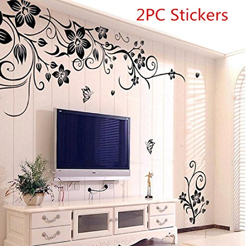 Wall Stickers, Franterd Grand Removable Vinyl Mural Decal Art Home Decor Painting Supplies- Flowers