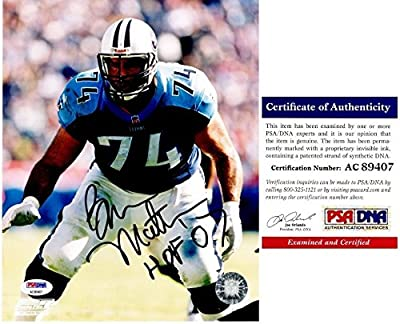 Bruce Matthews Autographed Tennessee Titans 8x10 Photo - HALL OF FAME 2007 Inscription - PSA/DNA Authentic