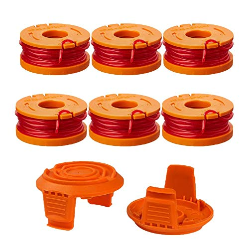 Thten Edger Spools Replacement for Worx WG180 WG163 WA0010 Weed Wacker Eater String with WA6531 GT Spool Cover 50006531 String Trimmer Refills 10ft 0.065