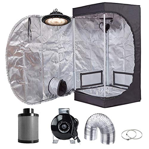 (Hydro Plus 300W Full Spectrum UFO LED Light + 20''x20''x48'' Grow Tent + 4'' Inline Fan Filter Duct Combo Indoor Grow Tent Complete Kit)