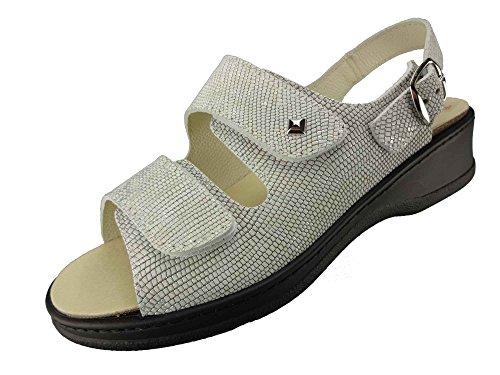 Algemare Damen Sandalette superweit Eis Keilpantolette mit Algen-Kork Wechselfußbett Made in Germany 4478_2493, Größe:39