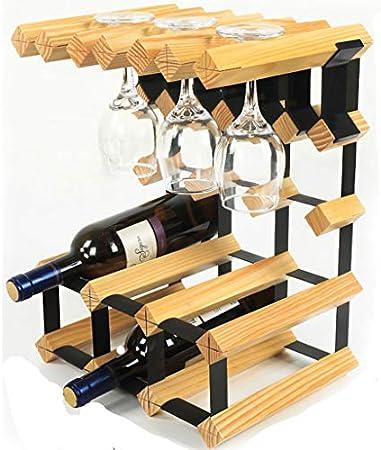 GUOF Estante de Vino de Pared Vinoteca Armario de Vino Creativo de Madera sólida decoración Rack Rack Portavasos (Color : Log)
