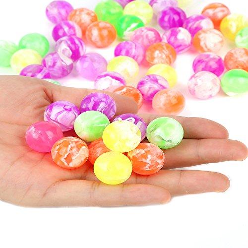 Rubber Bouncy Balls (Fun Central (AZ949) 4 dozens Neon Bouncing Balls Bulk Kit for kids, Rubber Swirl Bouncing Ball, High bouncing ball- For Kids Party Favors, Bag Stuffers, Pinata Fillers, Gifts, Prizes)