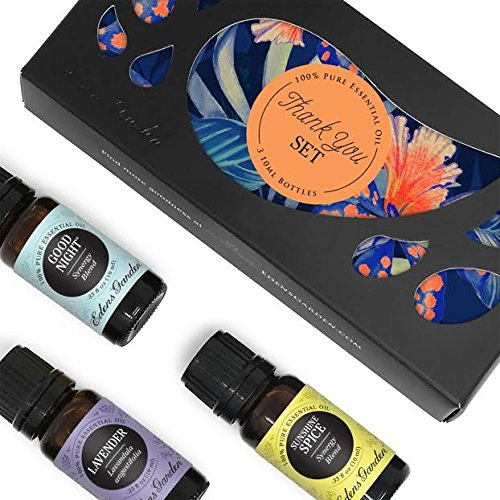 Thank You Essential Oil Set by Edens Garden- 100% Pure Therapeutic Grade Essential Oils- 3/10 ml of Good Night, Lavender (Bulgarian) and Sunshine Spice