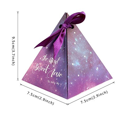Kangsanli@ 50pcs Purple Triangular Gift Box with Starry Sky Galaxy Vintage Wedding Candy Box Wedding Favors and Gifts Bag Party Decorations (Violet)