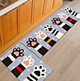 NonSlip Kitchen Mats and Rugs Funny Cartoon Cat Paw