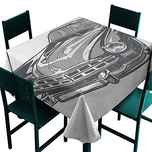 - Warm Family Cars Wrinkle Resistant Tablecloth Hand Drawn Vintage Vehicle with Detailed Front Part Hood Lamps Rear View Mirror for Kitchen Dinning Tabletop Decoration W54 x L54 Grey Blue Grey