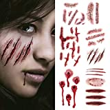 Temporary Wound Tattoo Scar Sticker - Fake Bloody Injury Halloween Horror Vampire Zombie Masquerade Cosplay Costume Terror Scary Masquerade Makeup Scratch-Stitched Stickers Simulate Props 10 Sheets