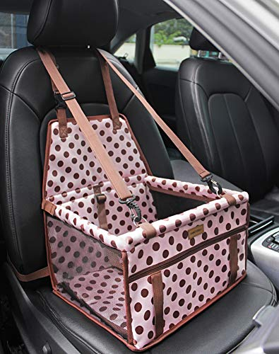 FANCYDELI-Dog-Car-Seat Puppy Car Seat Upgrade Deluxe Portable Pet Dog Booster Car Seat Waterproof with Clip-On Safety Leash,Perfect for Small Pets Pink up to 15 lbs
