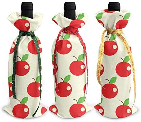 ワインバッグ クリスマスボトルカバー シャンパンワインボトル3本用 りんご柄 さくらんぼ ワイン収納 ボトル装飾 ギフトバッグ ギフトパッケージ クリスマスデコレーショ ワインボトルワインバッグ ギフトバッグ シャンパンプロップ クリスマス用品 ディナーテーブル デコレーションク