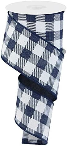 Plaid Check Wired Edge Ribbon 10 Yards Red, Black, 2.5