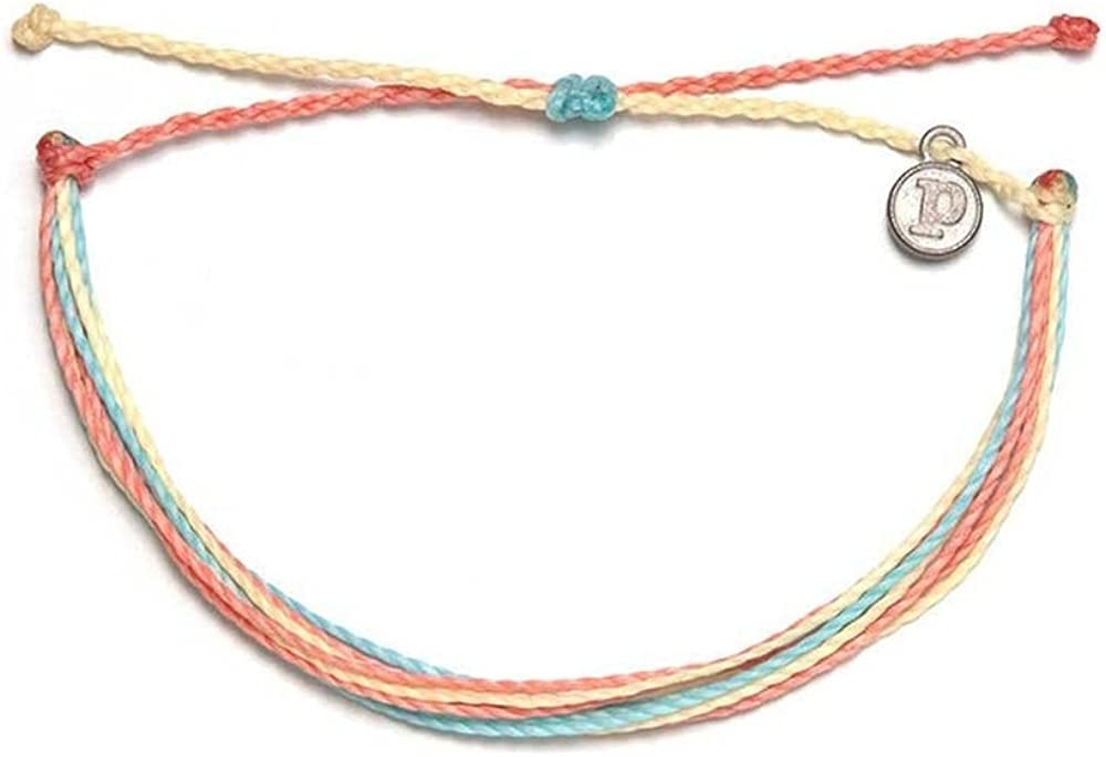 Pura Vida Jewelry Bracelets Bright Bracelet - 100% Waterproof and Handmade w/Coated Charm, Adjustable Band