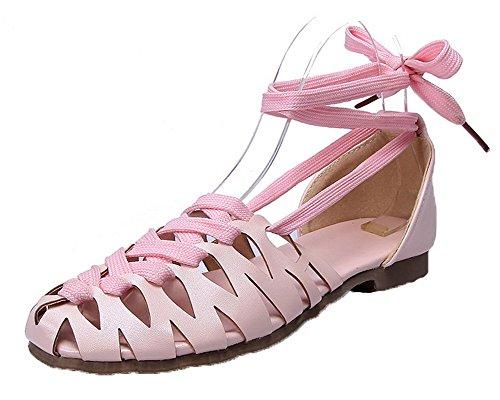 Ouverture Sandales Couleur Unie d'orteil AgooLar GMBLA013094 Rose Femme Bas Lacet à Talon W15YwFUpz