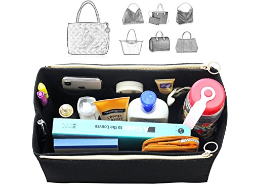 [Fits Cha.nel Bags] Felt Tote Organizer (w/ Double Zipper Pockets), Bag in Bag, Wool Purse Insert, Customized Tote Organize, Cosmetic Makeup Diaper - Nel Cha