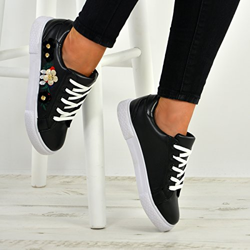 3 Schuhe Cucu Low Fashion New Side Größe Heel Womens Up Trainer Damen Blume Schwarz Lace UK 8 zPq6zdnxrw