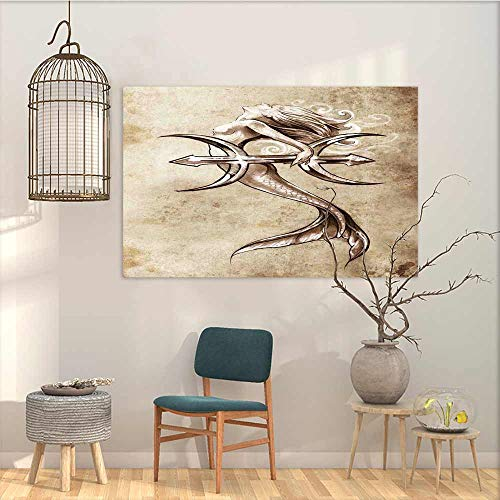 (Oncegod Canvas Prints Wall Decor Art Sticker Mermaid Vintage Style Mermaid in The Sea with an Anchor Mythical Aquatic Creature Graphic Art for Home Decoration Wall Decor Beige Brown W19 xL15)