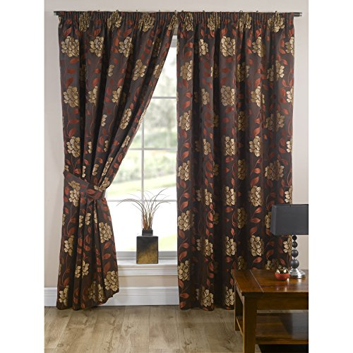 Universal Textiles Davina Fully Lined Floral Patterned Curtains/Drapes (66in x 72in) (Terracotta) ()