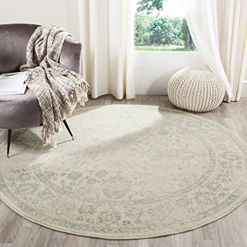 Safavieh Adirondack Collection ADR109V Ivory and Sage Oriental Vintage Distressed Round Area Rug (8' Diameter) (Furniture Style Bedroom Lodge)