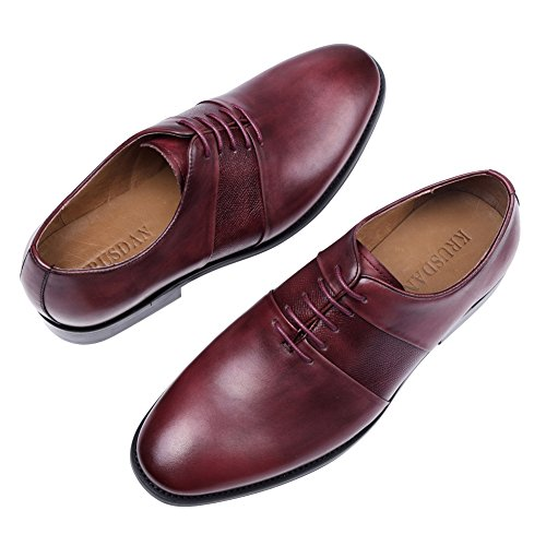 Tortor 1bacha Mens Lace Up Dress Oxford Shoes Red