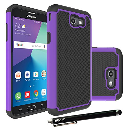 Galaxy J7 2017 Case, Galaxy J7 V / J7 Prime / J7 Perx Case / J7 Sky Pro / Galaxy Halo Case, MELOP Hybrid Dual Layer Tough Ultra Defender Drop Protective Case Cover for Samsung Galaxy 7(2017) - Purple