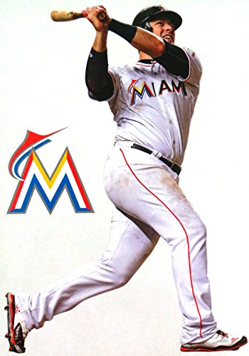 "FATHEAD Justin Bour Mini Miami Marlins Logo Official MLB Vinyl Wall Graphic 7"" INCH"