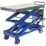 Vestil CART-1500-D-TS Steel Double Scissor Cart, Foot-Actuated, 2 Speed Hydraulic Pump, 1500 lb. Capacity, 40'' x 24'' Platform, Height Range 19'' to 68'', Blue