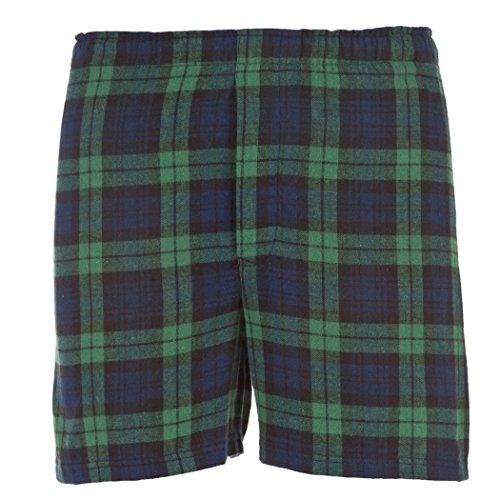 Unisex Flannel Boxers - Hometown Clothing Bundle: Flannel Boxer Short & Garment Guide, Blackwatch-M