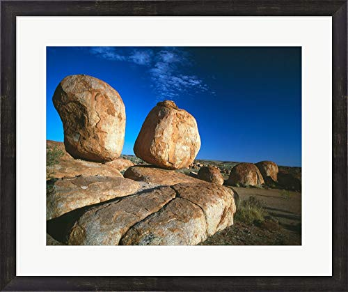 - Rocks on an arid Landscape, Devil's Marbles, Northern Territory, Australia Framed Art Print Wall Picture, Espresso Brown Frame, 27 x 23 inches
