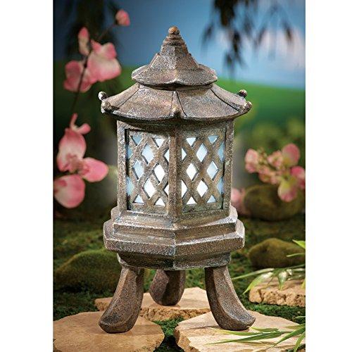 Zen Hexagon Outdoor Solar Pagoda Garden Light (Pagoda Garden Accent)