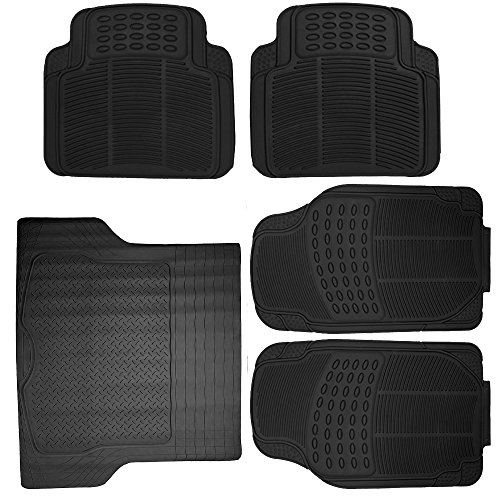 Scitoo 17-PCS Car Floor Mats W/Trunk Liner Gray/Red Car Seat Covers W/Steering Wheel Cover for Heavy Duty Vans Trucks by Scitoo (Image #3)