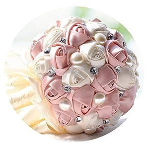 TaeHyung Beautiful Wedding Bouquet Handmade Rhinestone Beads Artificial Flower Rose Bridal Bouquet with Ribbon De Noiva,White 34