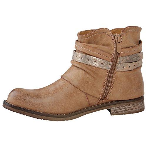 Stiefelparadies Damen Stiefeletten Metallic Biker Boots Leicht Gefütterte Stiefel Block Absatz Booties Schnallen Schuhe Damenschuhe Flandell Hellbraun Zierknöpfe